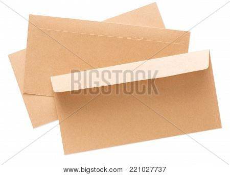 Valentine day letter. Craft paper envelopes isolated on white background. Postal card, lover's holiday confession or proposal concept