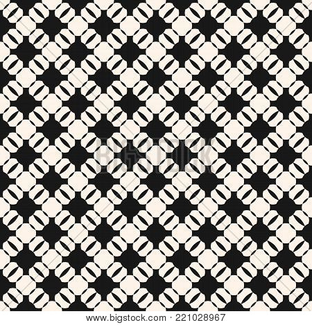 Vector geometric monochrome seamless pattern. Black and white ornamental texture with round shapes, grid, lattice, mesh. Abstract ornament background pattern, repeat tiles. Delicate repeatable design. Decor texture, fabric texture, textile