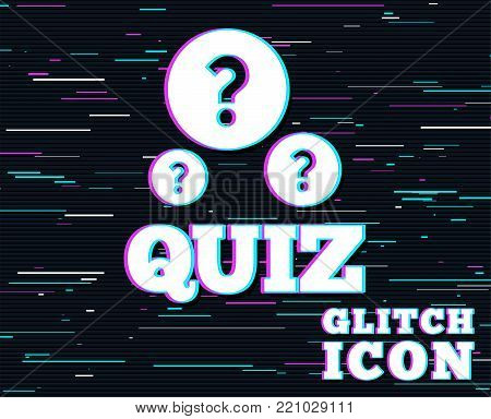 Glitch effect. Quiz with question marks sign icon. Questions and answers game symbol. Background with colored lines. Vector