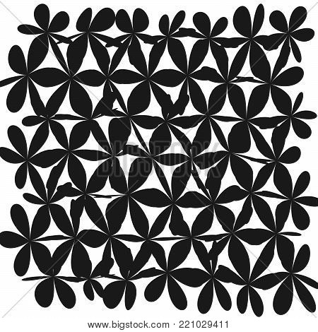 Whimsical Floral  Background, Flower Black and White, E