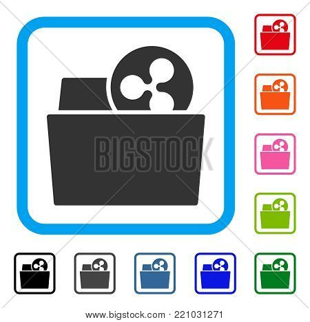Ripple Folder icon. Flat grey pictogram symbol inside a blue rounded frame. Black, gray, green, blue, red, orange color additional versions of Ripple Folder vector.