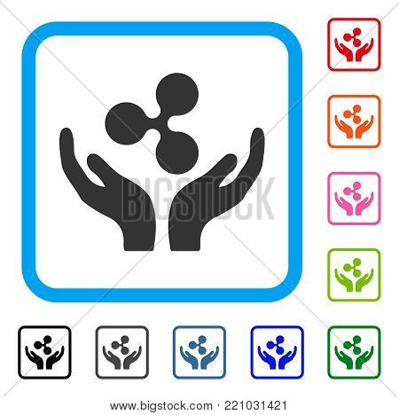 Ripple Maintenance Hands icon. Flat grey pictogram symbol inside a blue rounded squared frame. Black, gray, green, blue, red, orange color versions of Ripple Maintenance Hands vector.