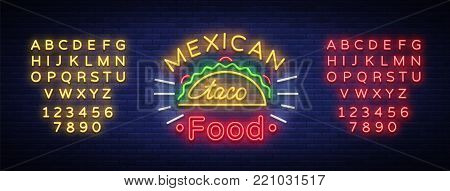 Tacos logo in neon style. Neon sign, bright billboard, nightly advertising of Mexican food Taco. Mexican street food. Vector illustration for your projects, restaurant, cafe. Editing text neon sign.
