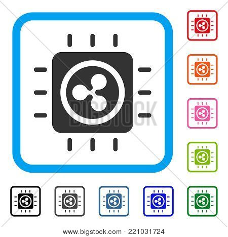 Ripple Processor Chip icon. Flat grey iconic symbol in a blue rounded rectangle. Black, gray, green, blue, red, orange color versions of Ripple Processor Chip vector.