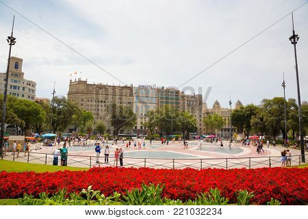 Barcelona, Catalonia, Spain - JUNE, 2016. View on The famous Plaza Catalunya in Barcelona in the summer
