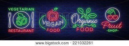Vegan set of logos in a neon style. Collection of neon signs, a bright luminous sign, neon advertising on the theme of Vegetarian food, healthy orginal food, vegetables, fruits. Vector illustration.