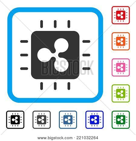 Ripple Processor Chip icon. Flat grey iconic symbol inside a blue rounded frame. Black, gray, green, blue, red, orange color variants of Ripple Processor Chip vector. Designed for web and app UI.