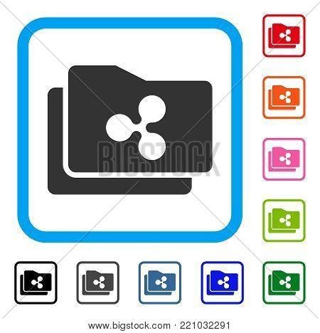 Ripple Purse icon. Flat gray pictogram symbol in a blue rounded rectangular frame. Black, gray, green, blue, red, orange color variants of Ripple Purse vector.