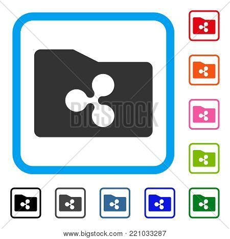 Ripple Purse icon. Flat gray pictogram symbol in a blue rounded rectangular frame. Black, gray, green, blue, red, orange color additional versions of Ripple Purse vector. Designed for web and app UI.