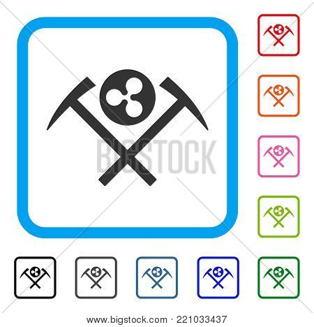 Ripple Mining Hammers icon. Flat gray pictogram symbol inside a blue rounded square. Black, gray, green, blue, red, orange color versions of Ripple Mining Hammers vector.