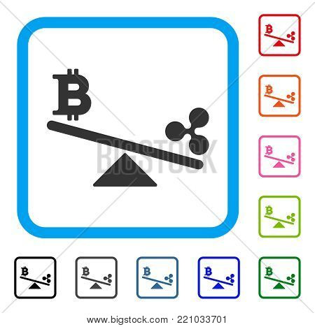 Bitcoin Ripple Swing Balance icon. Flat gray iconic symbol inside a blue rounded square. Black, gray, green, blue, red, orange color versions of Bitcoin Ripple Swing Balance vector.