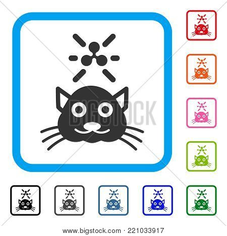 Crypto Ripple Kitty icon. Flat grey iconic symbol in a blue rounded frame. Black, gray, green, blue, red, orange color versions of Crypto Ripple Kitty vector.