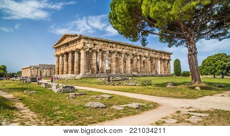 Temple of Hera at famous Paestum Archaeological UNESCO World Heritage Site, which contains some of the most well-preserved ancient Greek temples in the world, Province of Salerno, Campania, Italy