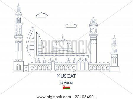 Muscat Linear City Skyline, Oman. Famous city places
