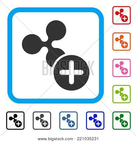 Ripple Add icon. Flat gray pictogram symbol inside a blue rounded rectangular frame. Black, gray, green, blue, red, orange color variants of Ripple Add vector.