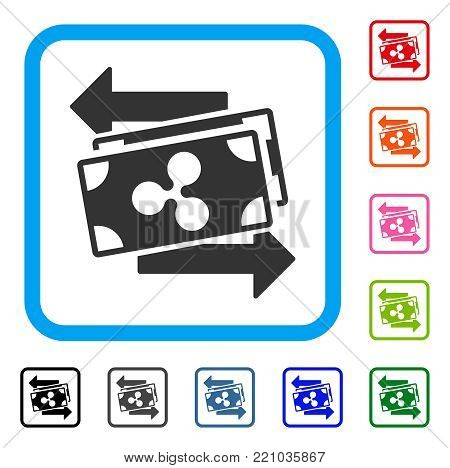 Ripple Banknotes Exchange icon. Flat gray iconic symbol in a blue rounded rectangle. Black, gray, green, blue, red, orange color additional versions of Ripple Banknotes Exchange vector.
