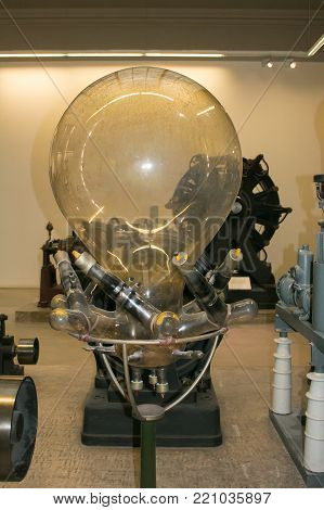 MUNICH, GERMANY - JANUARY 2, 2018: Giant light bulb at the interior of Deutsches museum of Munich, Germany