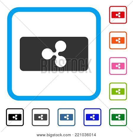 Ripple Bill icon. Flat gray pictogram symbol inside a blue rounded rectangle. Black, gray, green, blue, red, orange color versions of Ripple Bill vector. Designed for web and application interfaces.