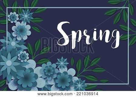 Flowers paper spring banner cut out floral origami bouquet nature vector holiday background. Flowering quilling art flowered for online shopping, advertising magazines and websites illustration.