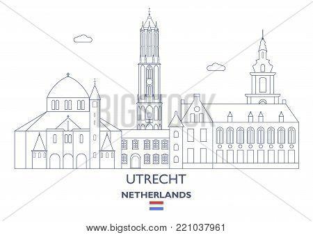 Utrecht Linear City Skyline, Netherlands. Famous city places