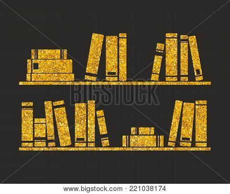 Golden vector books on the shelf on black background