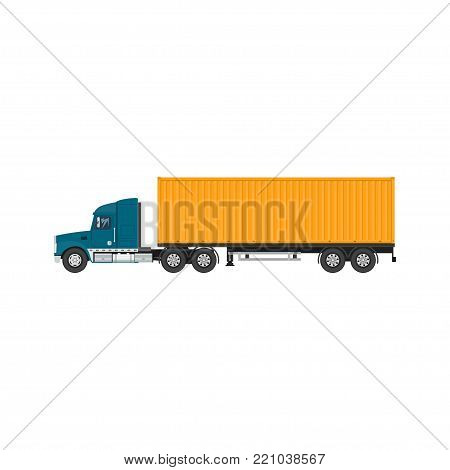 Cargo Delivery Truck with Orange Cargo Container , Shipping and Freight of Goods, Overland Freight Transport,  Illustration