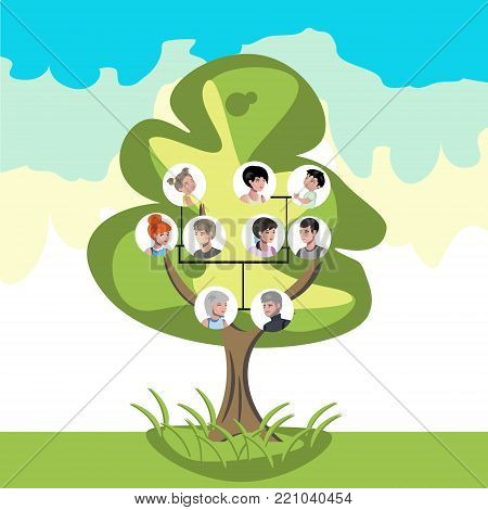 Family tree with portraits of relatives. Vector illustration