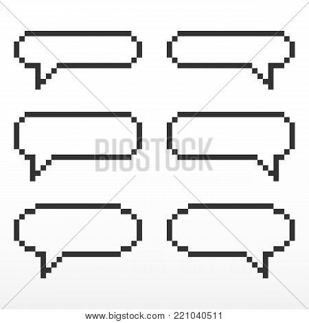 Pixel speech bubble, with place for text boxes, dialog boxes text message set.