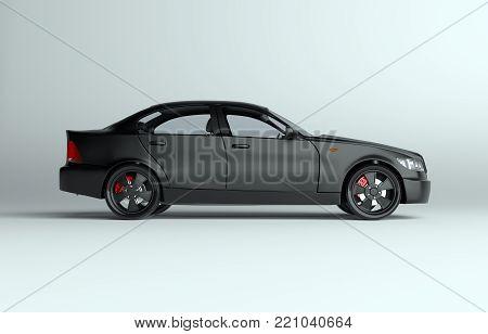 Generic brandless sports car on gray background. 3d illustration