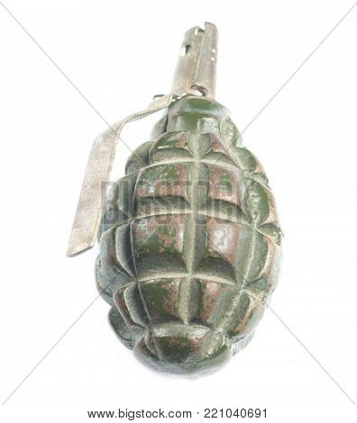 Isolated defensive hand grenade on white background