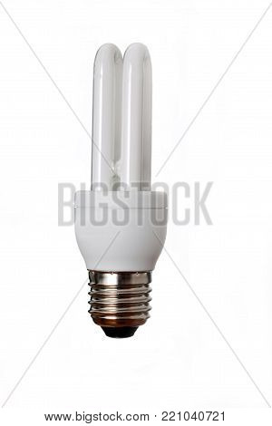 Isolated economical fluorescent bulb on white background