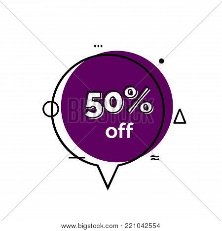Fifty percent off lettering in violet speech bubble. Inscription can be used for leaflets, posters, banners.