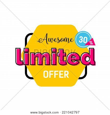 Awesome limited offer, thirty percent lettering on yellow hexagon. Inscription can be used for leaflets, posters, banners.