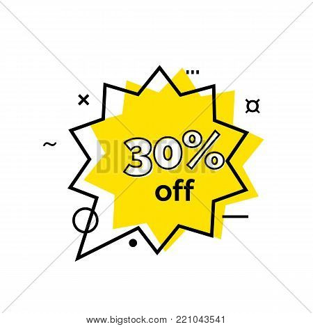 Thirty percent off lettering in yellow star-shaped speech bubble. Inscription can be used for leaflets, posters, banners.