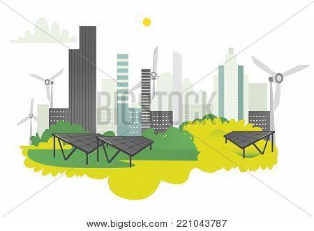 vector flat modern ecological city icon concept with green high business skyscrapers on background of green park, windmills and solar panels. Isolated illustration on a white background