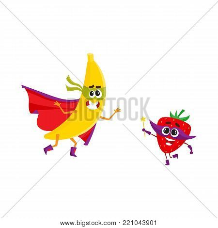 vector flat cartoon funny fruit, vegetable character in masks set. Banana in cape and mask standing in fight position, strawberry holding magic wand with star. Isolated illustration white background.