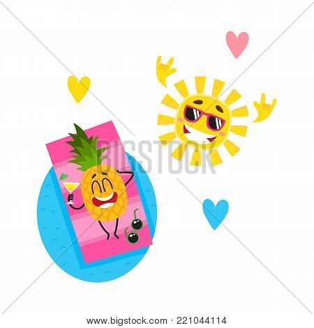 Vector flat summer symbols, fruit characters in sunglasses icon set. Pineapple sunbathing lying at inflatable mattress in pool, cool sun showing rock gesture, hearts. Isolated illustration