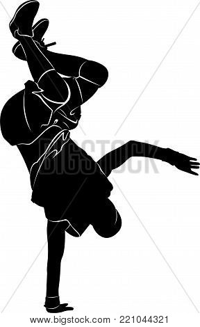 Silhouettes breakdancer on a white background. break dance isolated