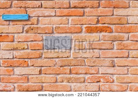 Wallpaper Of An Antique Red Brick Wall With Blue Letterbox And One Grey