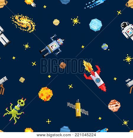 space seamless pattern background, alien spaceman, robot rocket and satellite cubes solar system planets pixel art, digital vintage game style. Mercury, Venus, Earth, Mars, Jupiter, Saturn