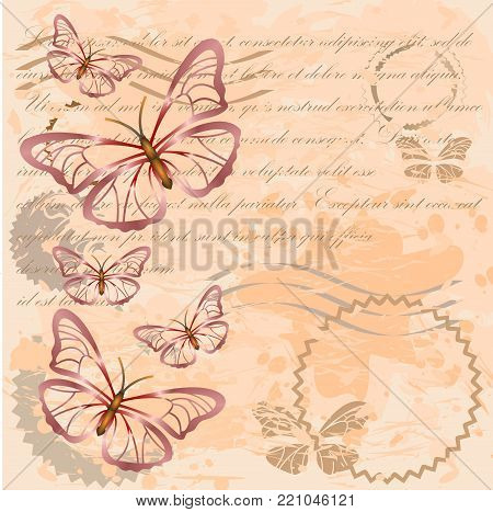 Vintage background with silhouettes of red butterflies