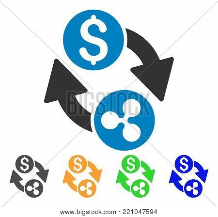 Ripple Dollar Exchange Arrows icon. Vector illustration style is a flat iconic ripple dollar exchange arrows symbol with grey, yellow, green, blue color variants.