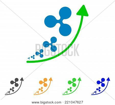 Ripple Inflation Trend icon. Vector illustration style is a flat iconic ripple inflation trend symbol with grey, yellow, green, blue color versions. Designed for web and software interfaces.