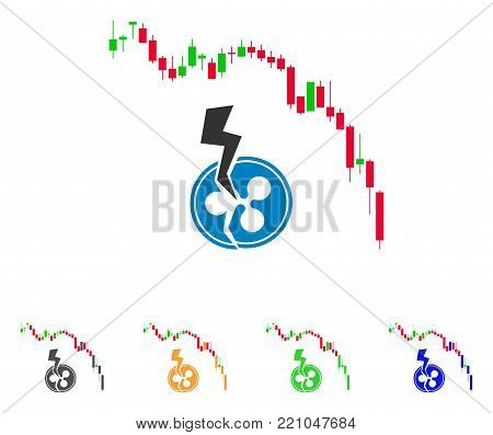 Candlestick Chart Ripple Crash icon. Vector illustration style is a flat iconic Candlestick chart ripple crash symbol with grey, yellow, green, blue color variants.