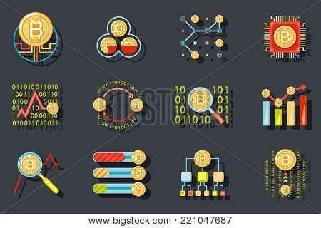 Digital Money Internet Currency Bitcoin Data Analytic Web Site Server Technology Icons Stylish Background Flat Design Template Vector Illustration