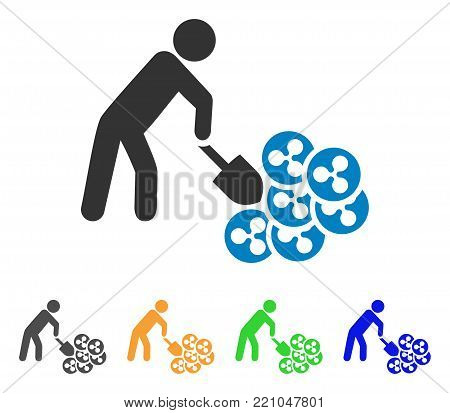 Person Digging Ripple icon. Vector illustration style is a flat iconic person digging ripple symbol with grey, yellow, green, blue color versions. Designed for web and software interfaces.