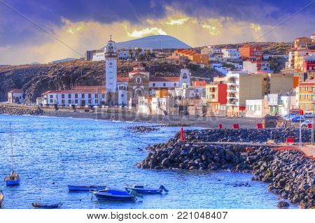 Beautiful panoramic view of Candelaria cityscape with traditional architecture of religious basilica in Tenerife, Canary island, Spain