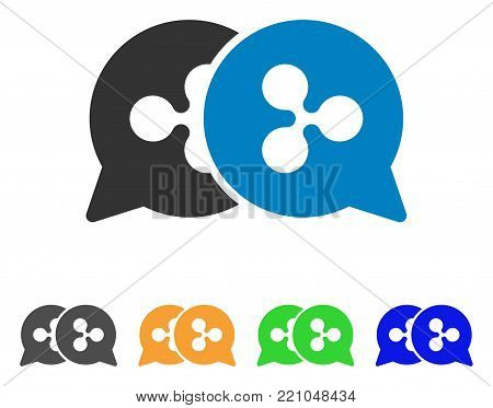 Ripple Bids icon. Vector illustration style is a flat iconic ripple bids symbol with grey, yellow, green, blue color versions. Designed for web and software interfaces.