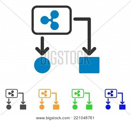 Ripple Cashflow icon. Vector illustration style is a flat iconic ripple cashflow symbol with gray, yellow, green, blue color versions. Designed for web and software interfaces.