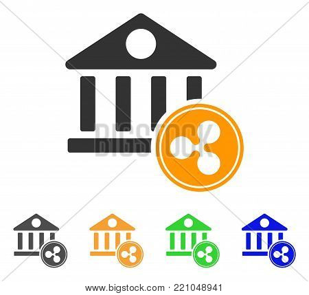Ripple Coin Bank icon. Vector illustration style is a flat iconic ripple coin bank symbol with grey, yellow, green, blue color versions. Designed for web and software interfaces.